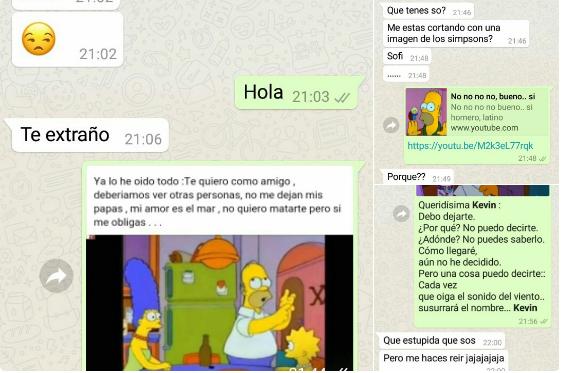 Viral: le cortó al novio por  WhatsApp y con memes de Los Simpsons